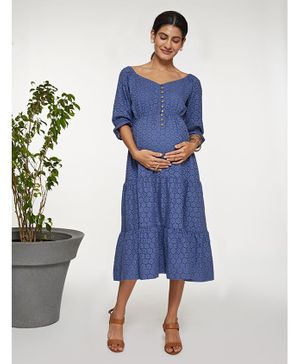 Mamaste Three Fourth Sleeves Slate Schiffli Tiered Dress - Blue