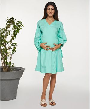 Mamaste Balloon Sleeve Wrap Dress - Sea Green
