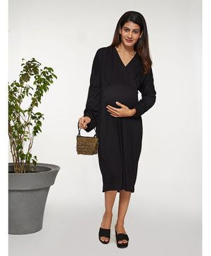Mamaste Full Layered Sleeve Overlap Dress - Black