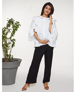 Mamaste  Three Fourth Sleeves White Ruffle Button Down Shirt Top - White