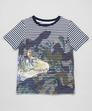 Angel & Rocket Striped Half Sleeves Dinosaur Printed Tee - Blue
