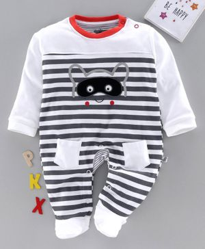 Mini Taurus Full Sleeves Footed Romper Raccoon Print Striped - Grey White