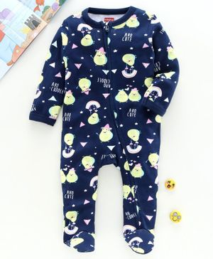 Babyhug Full Sleeves Printed Sleepsuit - Navy
