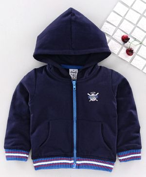 Simply Full Sleeves Hooded Sweat Jacket Baseball Embroidery - Navy Blue