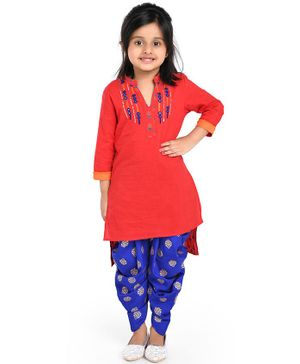 Twisha Three Fourth Sleeves Mirror Work Embroidery Detailing Kurta & Dhoti Set - Orange & Blue