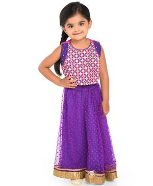 Twisha Sleeveless Mirror Work Choli & Netted Ghaghra With Designer Dupatta - Purple