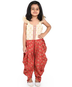 Twisha Short Sleeves Yoke Embroidery Dhoti Jumpsuit - Red