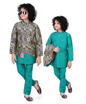 Nakshi By Yug Full Sleeves Kurta With Floral Jacquard Jacket & Pajama - Sea Green
