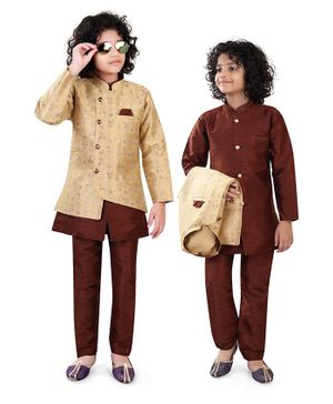 Nakshi By Yug Full Sleeves Kurta With Floral Jacquard Jacket & Pajama - Brown