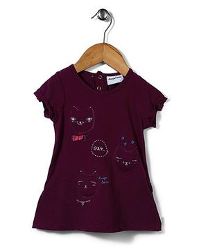 Little Wonder Top With Cat Applique - Purple
