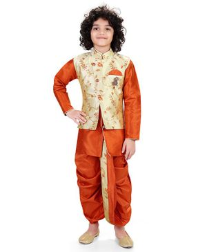 Nakshi By Yug Full Sleeves Kurta With Pajama & Floral Jacket With Dhoti - Rust