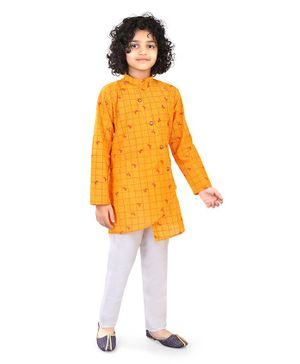 Nakshi By Yug Full Sleeves Checked Asymmetrical Kurta With Pajama - Yellow