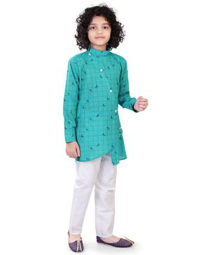 Nakshi By Yug Full Sleeves Checked Asymmetrical Kurta With Pajama - Blue