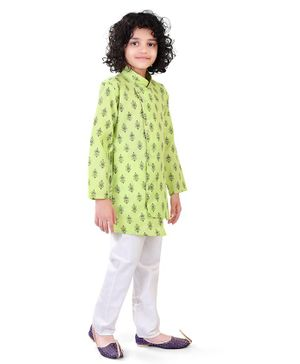 Nakshi By Yug Full Sleeves Printed Asymmetrical Kurta With Pajama - Green