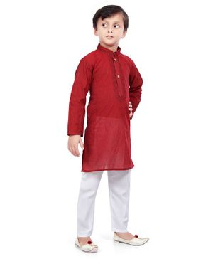 Nakshi By Yug Full Sleeves Embroidered Kurta With Pajama - Maroon