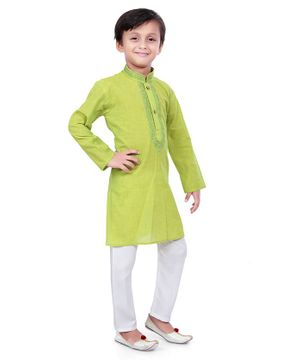 Nakshi By Yug Full Sleeves Embroidered Kurta With Pajama - Green