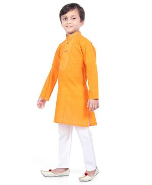 Nakshi By Yug Full Sleeves Embroidered Kurta With Pajama - Orange