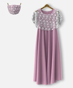 HEYKIDOO Sleeveless Gown With Floral Lace Work Shrug & Matching Face Mask - Purple