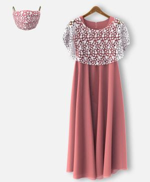 HEYKIDOO Sleeveless Gown With Floral Lace Work Shrug & Matching Face Mask - Peach