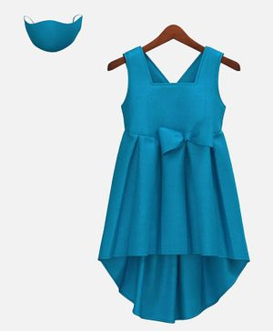 HEYKIDOO Sleeveless Bow Embellished High Low Style Dress With Matching Face Mask - Blue