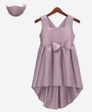 HEYKIDOO Sleeveless Bow Embellished High Low Style Dress With Matching Face Mask - Purple