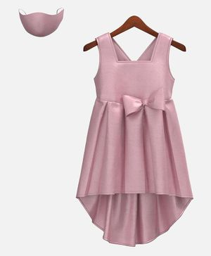 HEYKIDOO Sleeveless Bow Embellished High Low Style Dress With Matching Face Mask - Pink