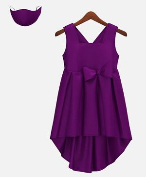 HEYKIDOO Sleeveless Bow Embellished High Low Style Dress With Matching Face Mask - Dark Purple
