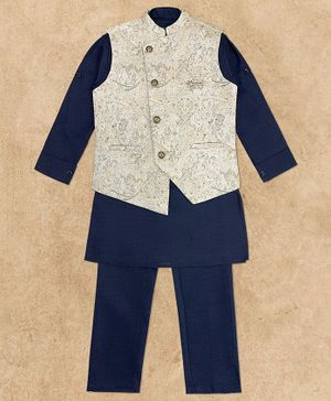 Charchit Full Sleeves Kurta With Asymmetric Self Design Jacket & Pajama Set - Navy Blue