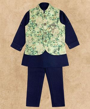 Charchit Full Sleeves Kurta With Floral Print Jacket & Pajama Set - Navy Blue