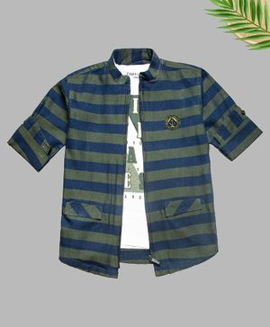 Charchit Full Sleeves Denim Striped Zipper Shirt With T-Shirt - Green