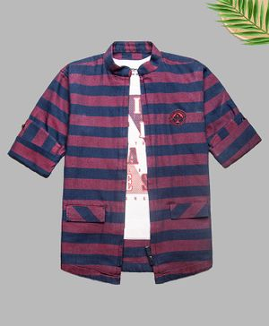 Charchit Full Sleeves Denim Striped Zipper Shirt With T-Shirt - Pink