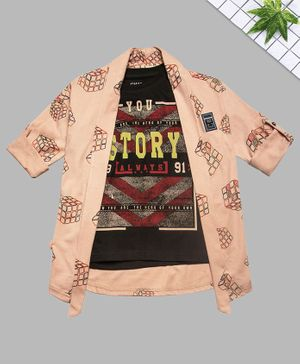 Charchit Full Sleeves Rubic Cube Printed Jacket With T-Shirt - Peach