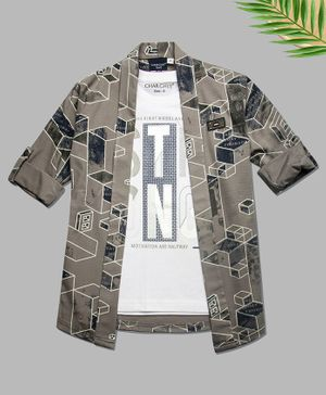 Charchit Full Sleeves Abstract Print Open Jacket With T-Shirt - Grey