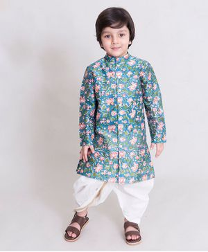 Tiber Taber Full Sleeves Lotus Printed Kurta & Dhoti Set - Blue