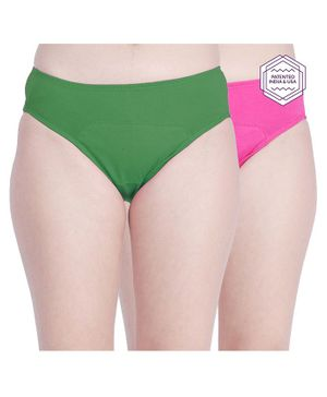 Adira Pack Of 2 Solid Colour Hipster Period Panties - Green & Pink