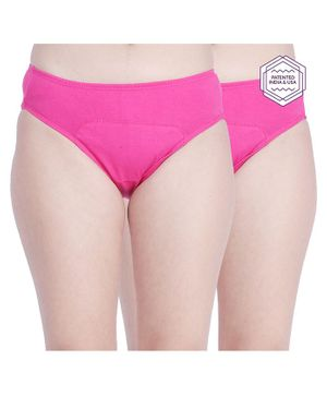 Adira Pack Of 2 Solid Colour Hipster Period Panties - Pink