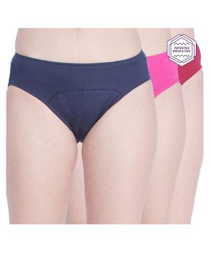 Adira Pack Of 3 Solid Color Period Hipsters - Navy Blue Maroon Dark Pink