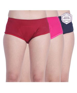 Adira Solid Pack Of 3 Period Boxers - Navy Blue Maroon & Dark Pink