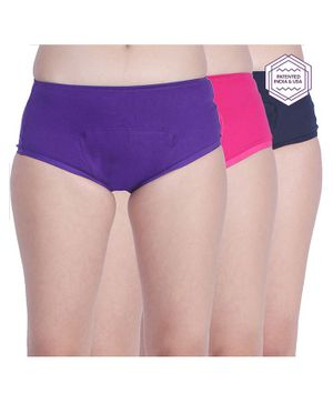 Adira Solid Pack Of 3 Period Boxers - Navy Blue Purple & Magenta