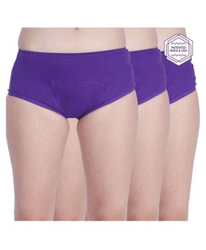 Adira Solid Pack Of 3 Period Boxers - Purple