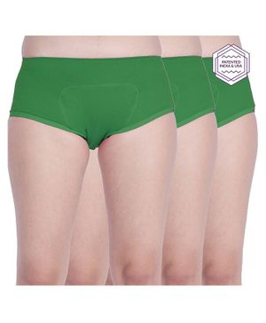 Adira Solid Pack Of 3 Period Boxers - Green