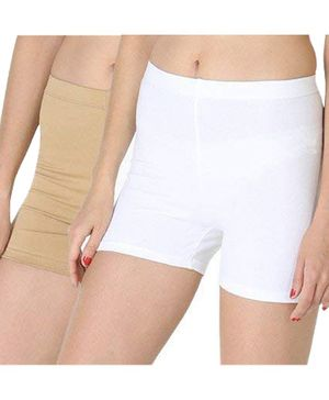 Adira Pack Of 2 Solid UnderDress Shorts - Beige & White
