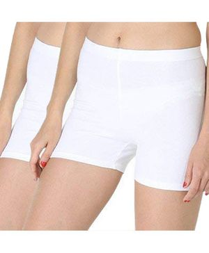 Adira Pack Of 2 Solid UnderDress Shorts - White