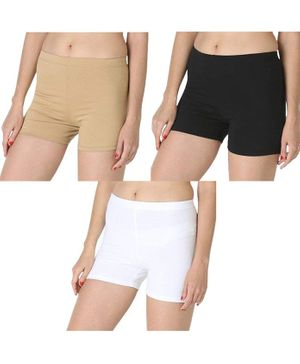 Adira Pack Of 3 Solid UnderDress Shorts -  Beige White Black