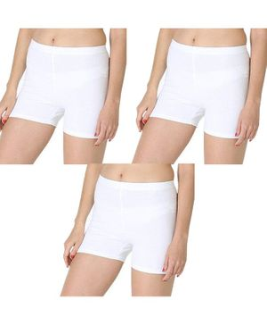 Adira Pack Of 3 Solid UnderDress Shorts - White
