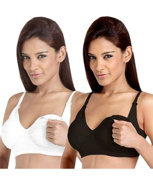 Morph Maternity Pack Of 2 Solid Nursing Bra - White & Black