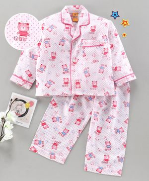 Yellow Duck Full Sleeves Night Suit Teddy Print - Pink