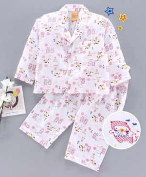 Yellow Duck Full Sleeves Night Suit Animal Print - Pink