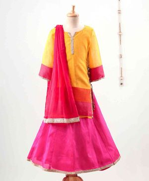 The Little Fashionistas Full Sleeves Long Contrast Hem Kurti With Flared Ghagra & Dupatta - Yellow Pink