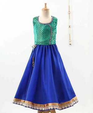 The Little Fashionistas Sleeveless Brocade Choli With Lehenga & Dupatta - Green Blue